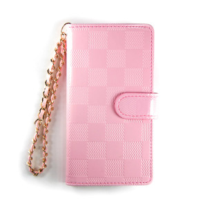 Pink Enamel Chess Leather Wallet Case